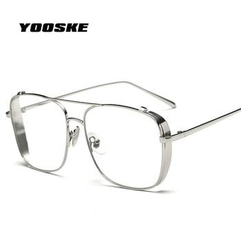 YOOSKE Oversized Alloy  Eyeglasses Transparent HD Lens  Sunglasses Women Optical Glasses Frames for Men Vintage Eyewear