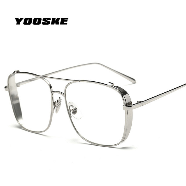 YOOSKE Oversized Alloy Eyeglasses Transparent HD Lens Sunglasses ...