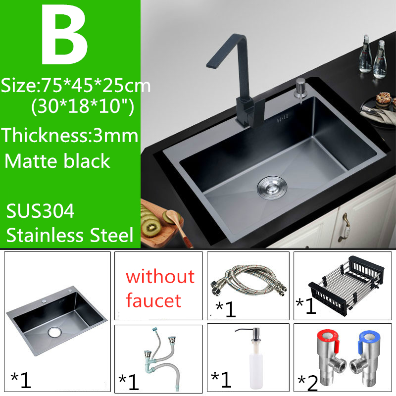 US $64.77 18% OFF|Nano Black 30 inch 11 Gauge Sink Stainless Steel Kitchen  Sinks Undermount Hand Thickened Kitchen Single Slot with Drain Strainer-in  ...