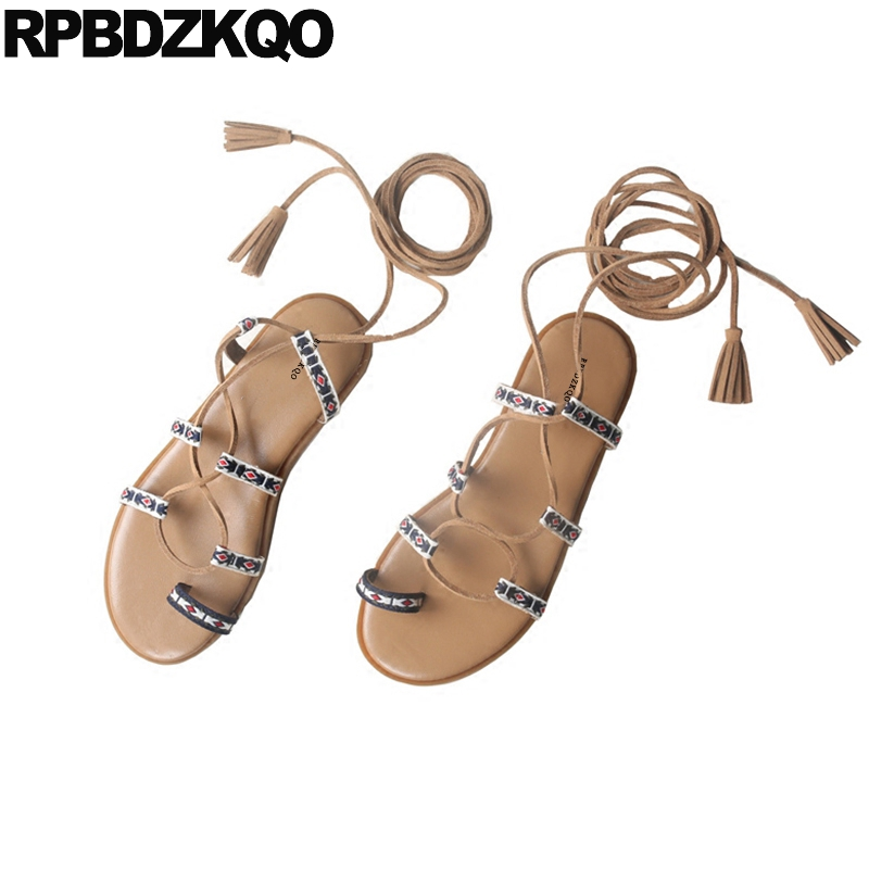 Holiday Tie Up Fringe Toe Ring Strappy Slingback Gladiator Shoes Sandals Leisure Fashion Bohemia Style Roman Flat Women StrapHoliday Tie Up Fringe Toe Ring Strappy Slingback Gladiator Shoes Sandals Leisure Fashion Bohemia Style Roman Flat Women Strap