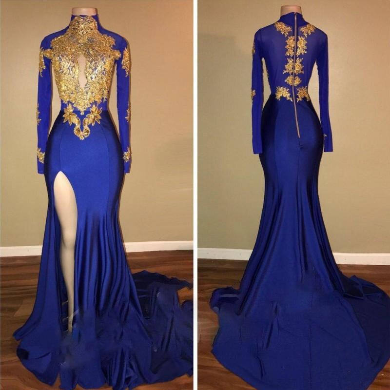 Женское вечернее платье с высоким воротом голубое Русалка разрезом и длинными