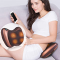 Travel Vibrating kneading neck massager pillow infrared shiatsu.Electric shoulder back massager car.Cervical vertebra therapy