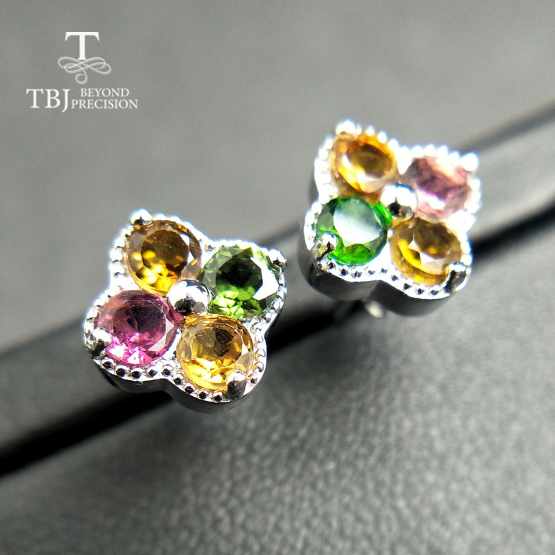 TBJ,Cute Small Romantic Natural Tourmaline Earring In 925 Sterling Silver For Women Fine Jewelry For Anniversary With Gift Box