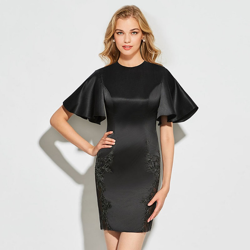Tanpell sheath short cocktail dress black appliques short sleeves above knee gown lady party formal plus custom cocktail dresses
