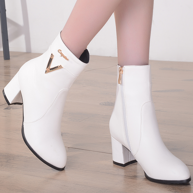 ФОТО Plus size 33 to 43 women fashion white high heel boots with side zipper botas mulheres female pu leather casual boots lady shoes