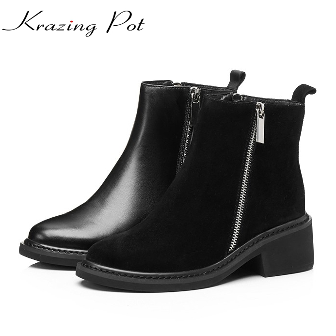 Krazing Pot 2018 new arrival round toe zipper thick med heels fashion winter shoes runway superstar elegant nude ankle boots L98 fringe wedges thick heels bow knot casual shoes new arrival round toe fashion high heels boots 20170119