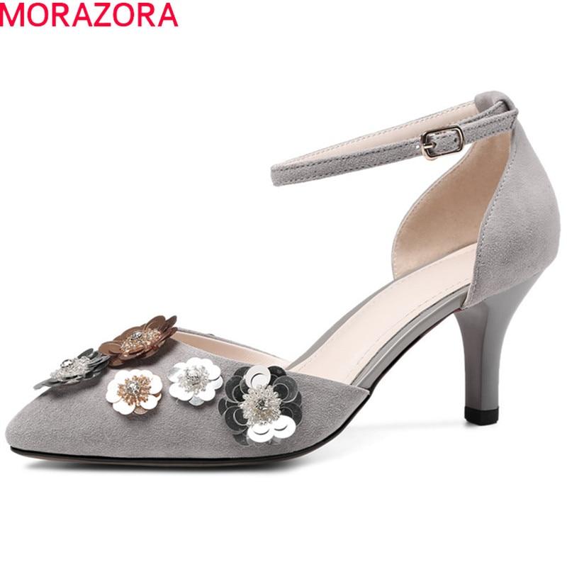 MORAZORA 2018 offre spéciale daim cuir pompes femmes chaussures bout pointu chaussures d'été simple boucle sexy talons hauts chaussures femme