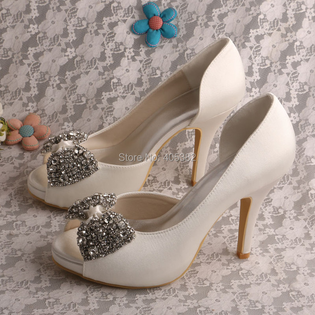 6a9d5f5db04 US $54.99  Wedopus Women's Evening Pumps Open Toe High Heel Platform Bows  Satin Wedding Bridal Shoes-in Women's Pumps from Shoes on Aliexpress.com    ...