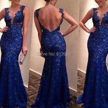 Mode Vestidos Spitze V-ausschnitt Durchsichtig Open Back Tank Sexy Abendkleid Sweep Zug Mermaid Abendkleider 2016