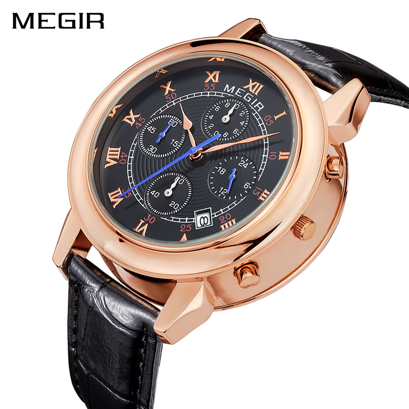 MEGIR Military Sports WristWatches Men Fashion Luxury Brand Leather Watch Waterproof Quartz Watches Male Clock Relogio Masculino new listing yazole men watch luxury brand watches quartz clock fashion leather belts watch cheap sports wristwatch relogio male