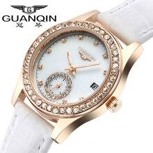 GUANQIN Femmes montre de luxe marque mode imperméable à l'eau lumineux diamant ultra-mince femmes de quartz véritable montre en cuir femmes