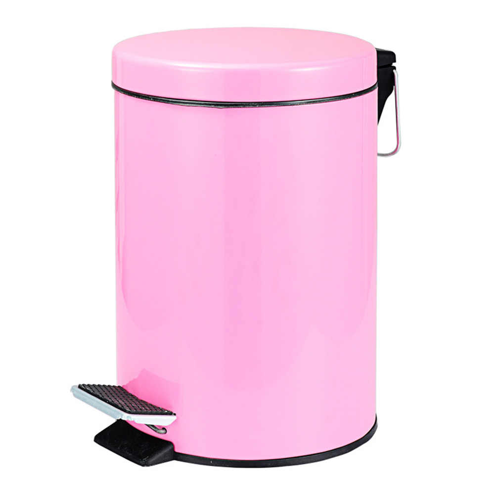 Hot Round Stainless Steel Step Trash Can Wastebasket Garbage Container Bin For Bathroom Bedroom Kitchen Fq Ing