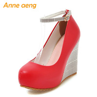 Spring/Autumn Women Pumps Ankle Strap Round Toe High Wedge Heel Shoes Fashion Sexy Ladies Women Shoes Red High Heels Big Size