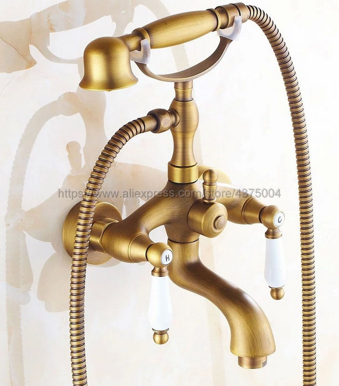 Dual Ceramic Handles Wall Mounted Antique Brass Bathroom Tub Faucet with Hand Held Shower Sprayer Ntf315 dual cross handles antique brass bathroom tub faucet with hand held shower sprayer