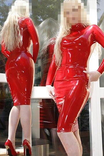 Латексное Платье женское сексуальное летнее обтягивающее резиновое платье с длинным рукавом на молнии сзади