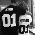 2017 Valentine Shirts Woman Cotton King 01 Queen 01 Funny Letter Print Matching Couples T-shirt Set Man  Short Sleeve T-shirt