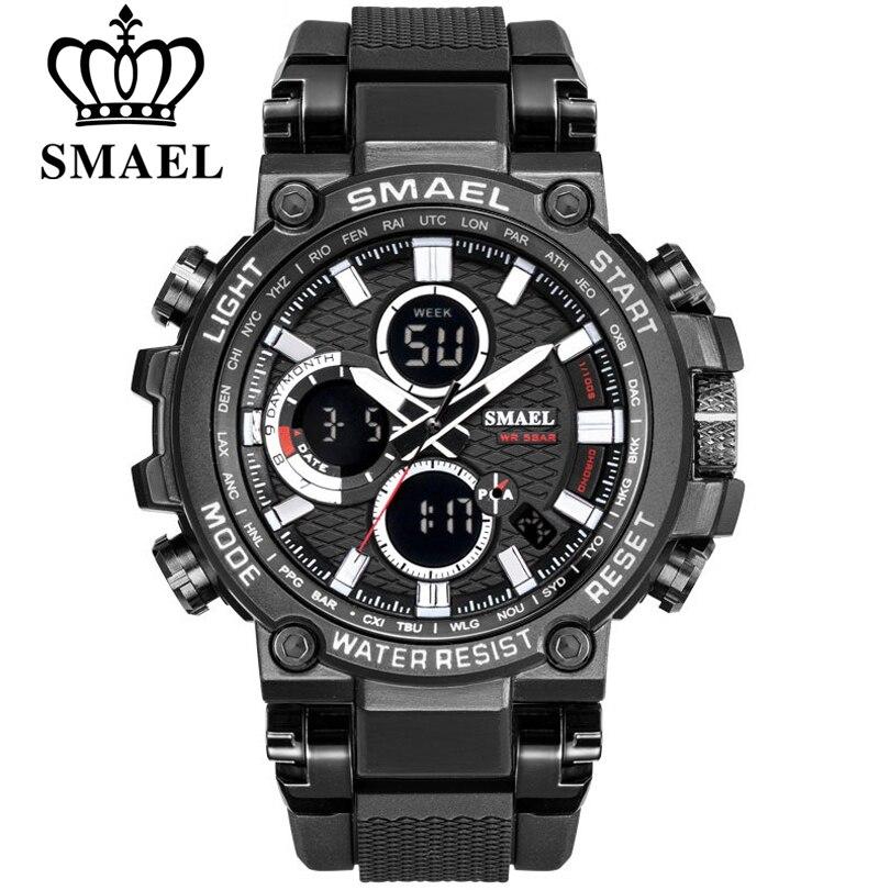 SMEAL Men Watch Digital Waterproof Clock Army Military Watches LED Men's WristWatch 1803 Sport Watch For Men Relogio Masculino