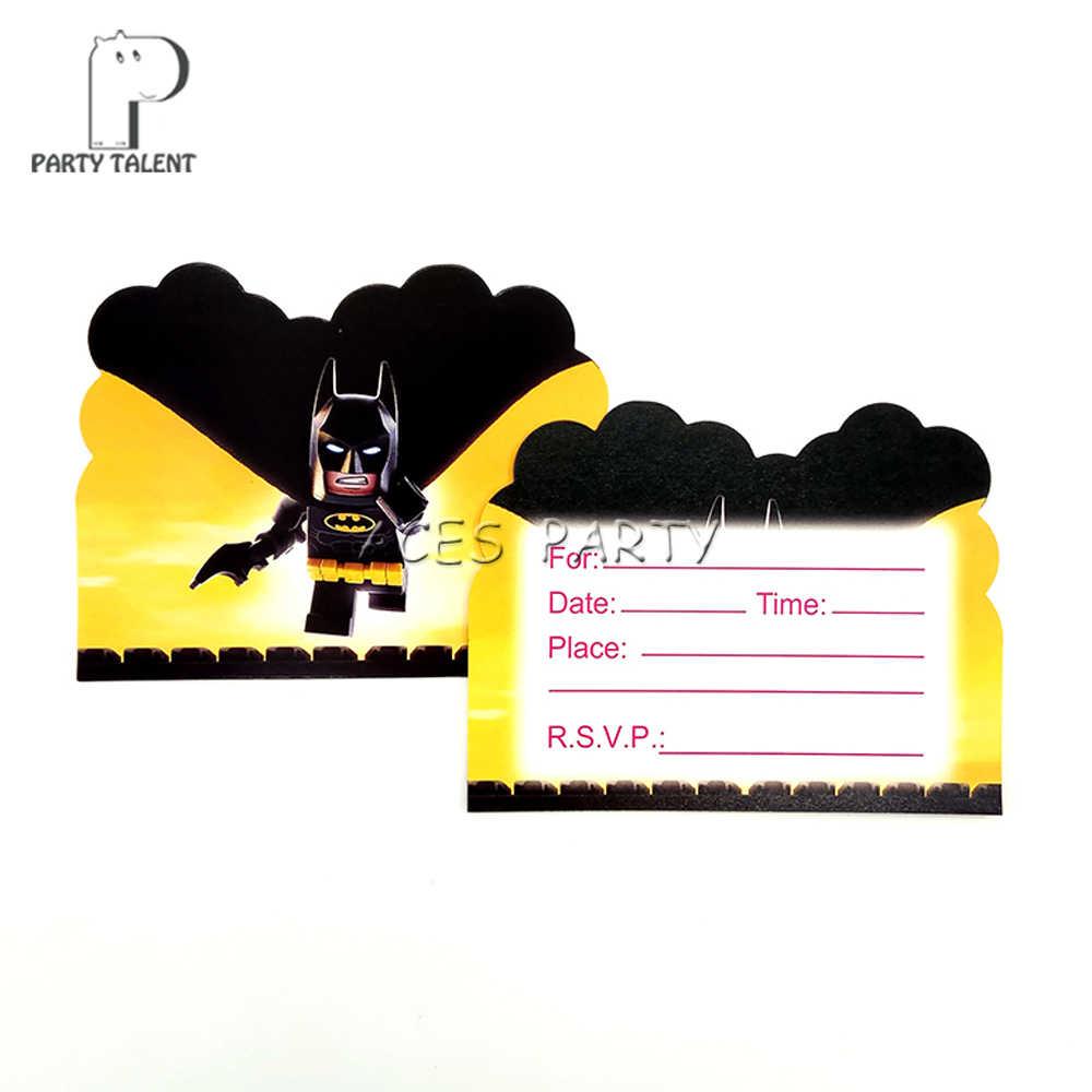 Fiesta 8 Piezas Batman Tema Tarjeta De Invitación Invitaciones Para La Fiesta De Cumpleaños De Los Niños Decoración