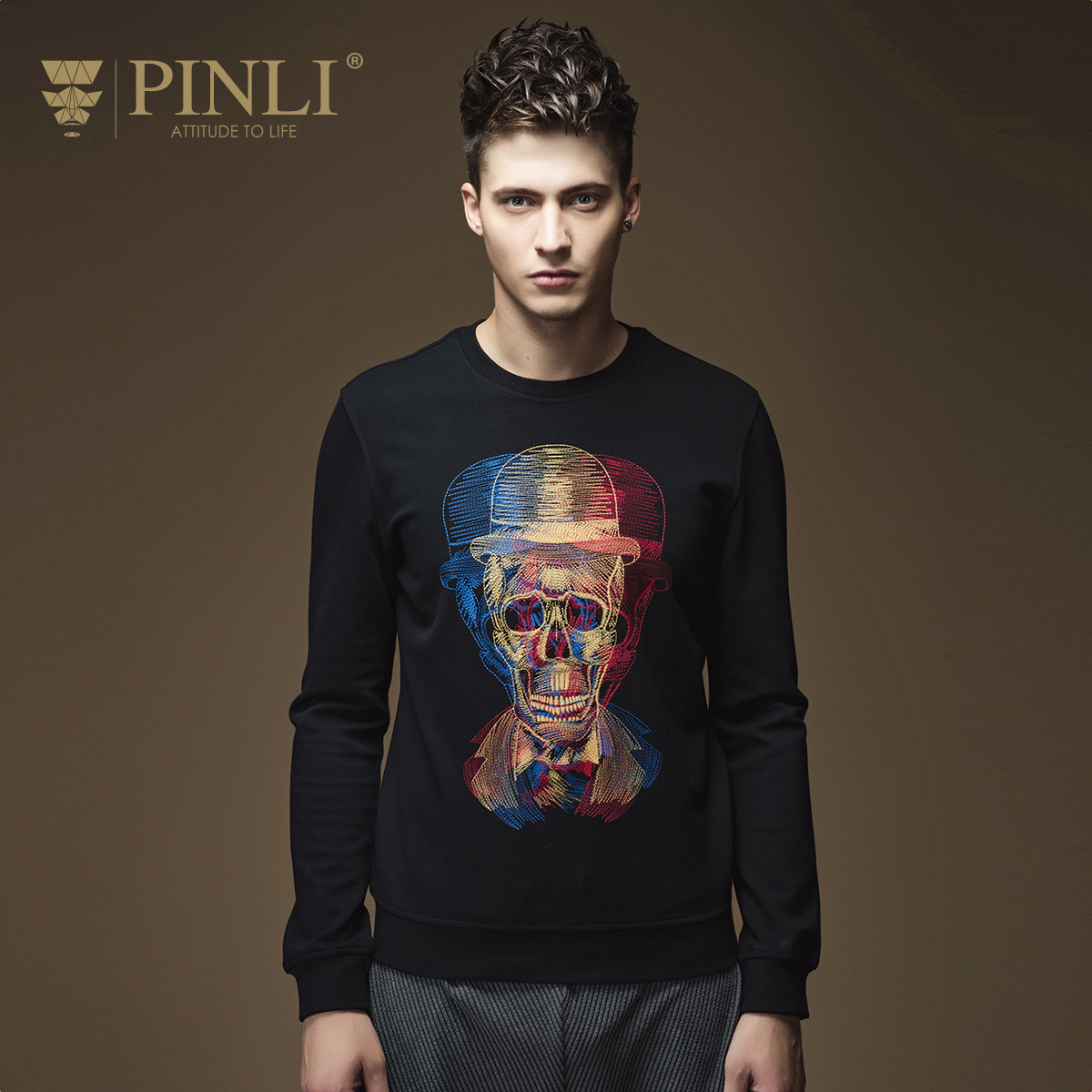Suéter real o-cuello pullover hombres pinli 2016 otoño nueva llegada ropa  de hombre delgado suéter bordado masculino B16320422 52779c3e049e