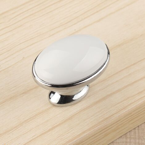 modern simple fashion white ceramic drawer tv cabiinet shoe cabinet knobs pulls silver chrome kitchen cabinet cupboard handles