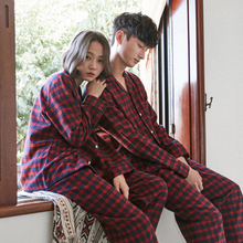 Scottish checkered couple pajamas men cotton long-sleeved autumn and winter simple casual home service suit