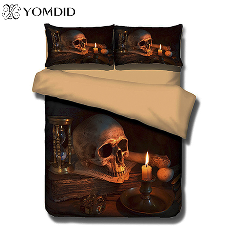 3D Skull Bedding sets Fire Skull head 3pcs Bed Linen Duvet Cover Pillowcase Queen King Size Bed Skull Bedding set bedclothes