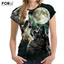 FORUDESIGNS Cool 3D Animal Wolf Moon Print T Shirt Women Blue Sky Female  Tshirts Brand Short Sleeve Top Crop Clothing Tee Shirts db3f8ceb6deb