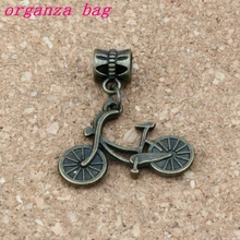 100pcs/lot Dangle Antique Bronze Bicycle alloy Charms Big Hole Beads Fit European Charm Bracelet Jewelry 25.8x 30mm A-312a