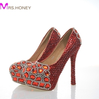 Newest Round Toe Red Crystals With Red Diamonds Rhinestones Bridal Wedding Shoes Red Beautiful High Heeled