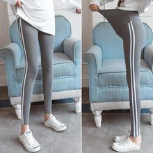 Simple Side Stripes Trousers Maternity Pants Black Grey Abdomen Support Cotton Leggings for Pregnant Women