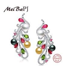 [MeiBaPJ] 925 de Plata Colorido Montante Pendiente de La Perla Natural de Agua Dulce de La Perla de Phoenix Pendientes de Perlas de La Joyería Para Las Mujeres