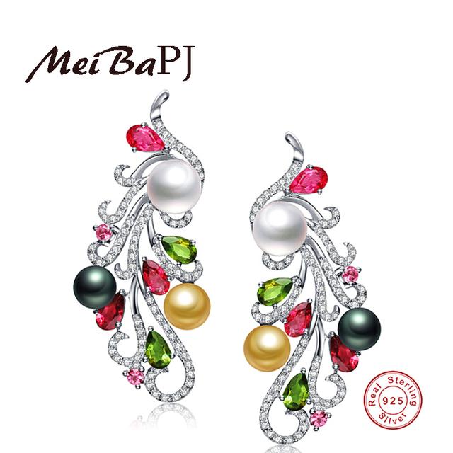 [MeiBaPJ] 925 Silver Freshwater Colourful Pearl Stud Earring Natural Pearl Phoenix Earrings Pearls Jewelry For Women