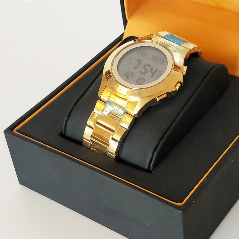 Islamic Qibla Watch for All Muslim Harameen Azan Wristatch for Couple with Pray Time HRM Ramadan Clock S Steel 100% Original