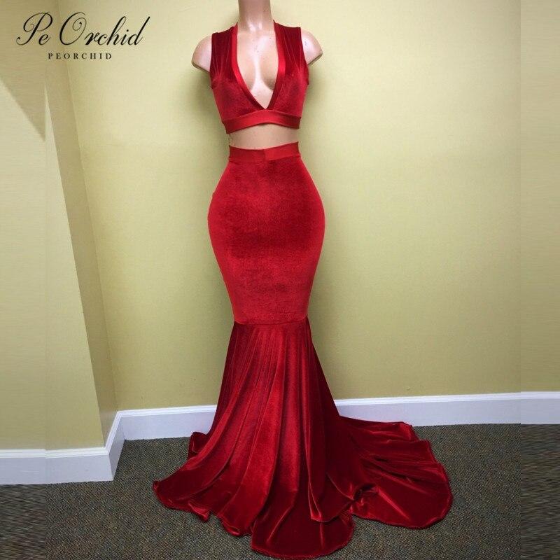 PEORCHID/красные сексуальные платья для выпускного вечера из двух предметов, глубокий v образный вырез, Vestido Fiesta, вечернее длинное черное бархат...