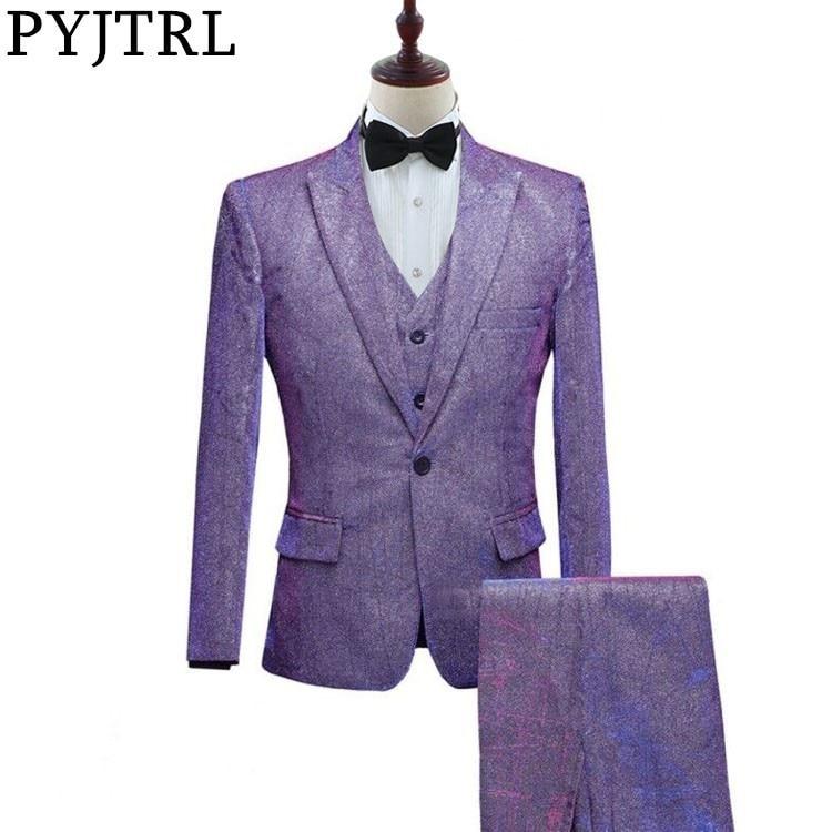Jtrl 새로운 망 패션 반짝 이는 다채로운 3 pcs 세트 정장 보라색 회색 블루 웨딩 신랑 댄스 파티 드레스 정장 변경-에서정장부터 남성 의류 의  그룹 1