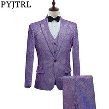 PYJTRL ใหม่ Mens แฟชั่นเงาเปลี่ยน 3 Pcs ชุดชุดสีม่วงสีเทาสีฟ้าเจ้าบ่าวแต่งงานพรหมชุดสูท