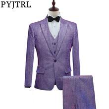 PYJTRL New Mens Fashion Shiny Changed Colorful 3 Pcs Set Suits Purple Gray Blue Wedding Groom Prom Dress Suits