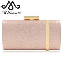 Milisente Women Solid Handbag Gold Metal Hasp Ladies Evening Bag Simple Elegant