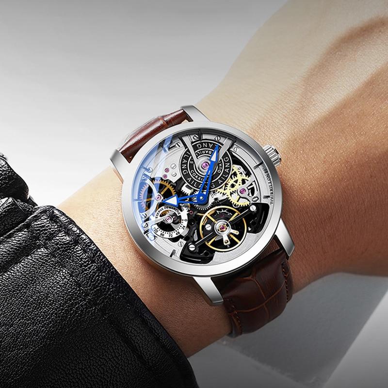 AILANG mannen Mechanische Horloge Tourbillon luxe mode mannen lederen merk sport horloges heren horloge automatische mannelijke horloge-in Mechanische Horloges van Horloges op  Groep 2