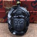 Bead Curtain Natural Obsidian Scrub Pendant Black Guanyin Head Pendants Transhipped Buddha Head