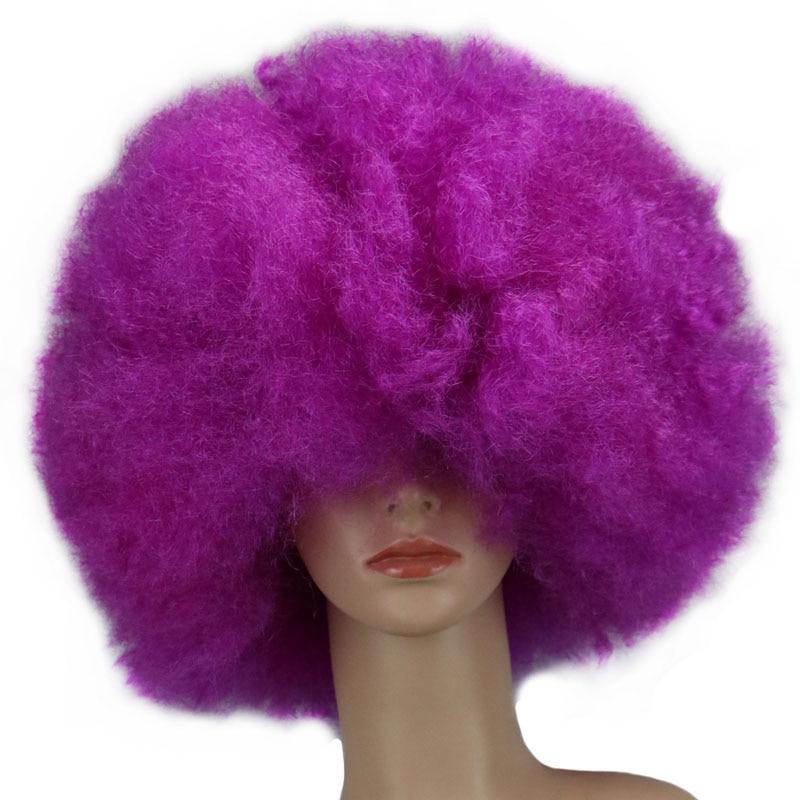 QQXCAIW 200g Super Big Short Culry Men Women Wig Children Cosplay Party Purple Dance Synthetic Afro Wigs