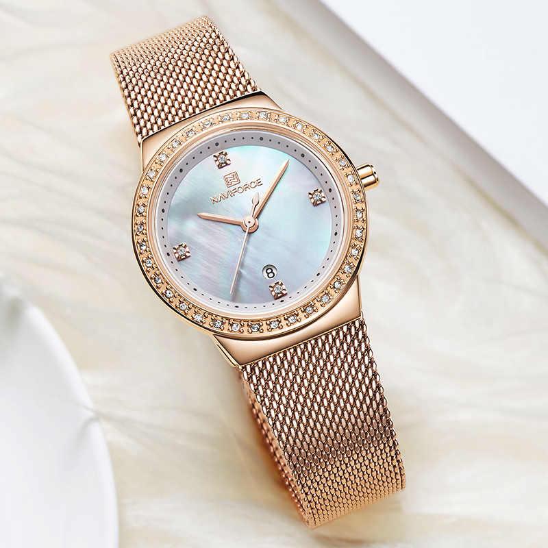 נשים שעון NAVIFORCE אופנה מקרית קוורץ שעונים גבירותיי עמיד למים שעוני יד נירוסטה ילדה שעון Relogio Feminino