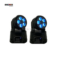 2pcs 5x18W Led Moving Head Mini Strobe Stage Lights With 6 Colors Sound Projector For