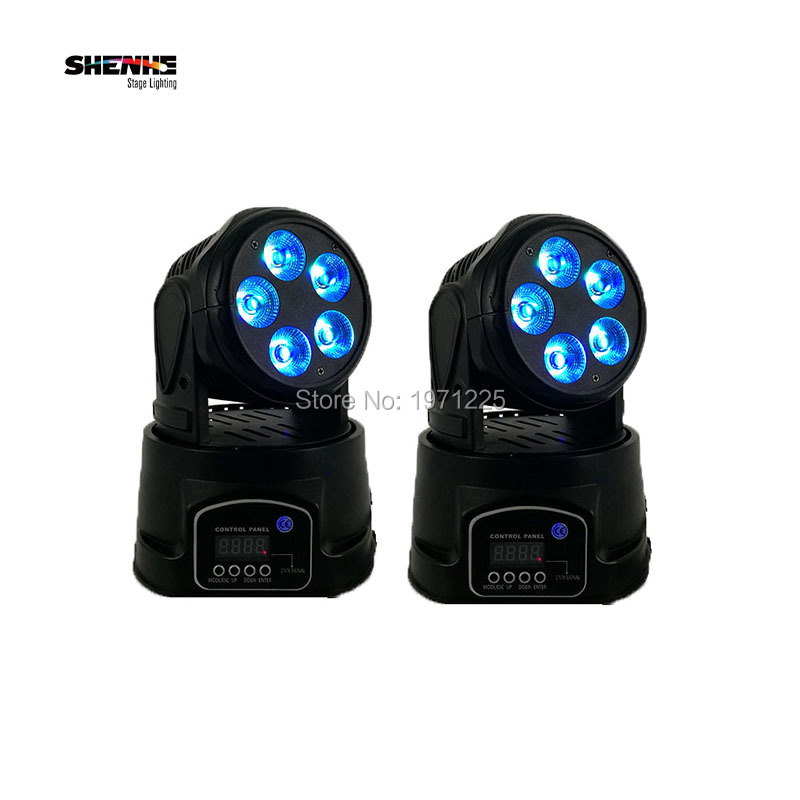 (2pcs) 5x18W Led Moving Head Mini strobe stage lights with 6 colors sound projector for decoration light New Year outdoor niugul dmx stage light mini 10w led spot moving head light led patterns lamp dj disco lighting 10w led gobo lights chandelier