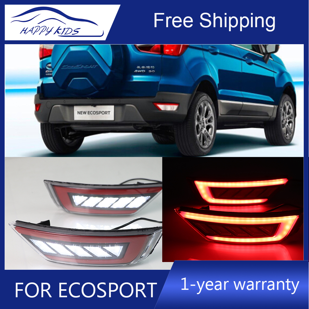 Car styling LED Reflector For Ford Ecosport 2014 2018 led Reflector Rear Bumper Brake Light Driving light signal Light-in Signal Lamp from Automobiles & Motorcycles    1