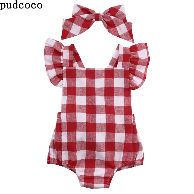 2018 New Summer Baby   Romper   Girl clothes Plaid White Red Baby   Romper  +Bow Headwear Outfits Sunsuit 0-18M Newborn baby Girl cloth