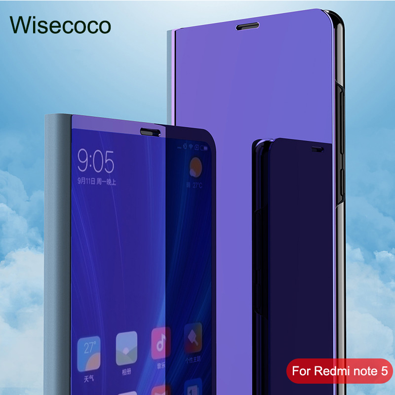 Luxury Flip Stand Touch For Xiaomi Mi redmi note 5 pro case etui 360 full Cover Clear View Phone Cases For xiomi redmi note5pro