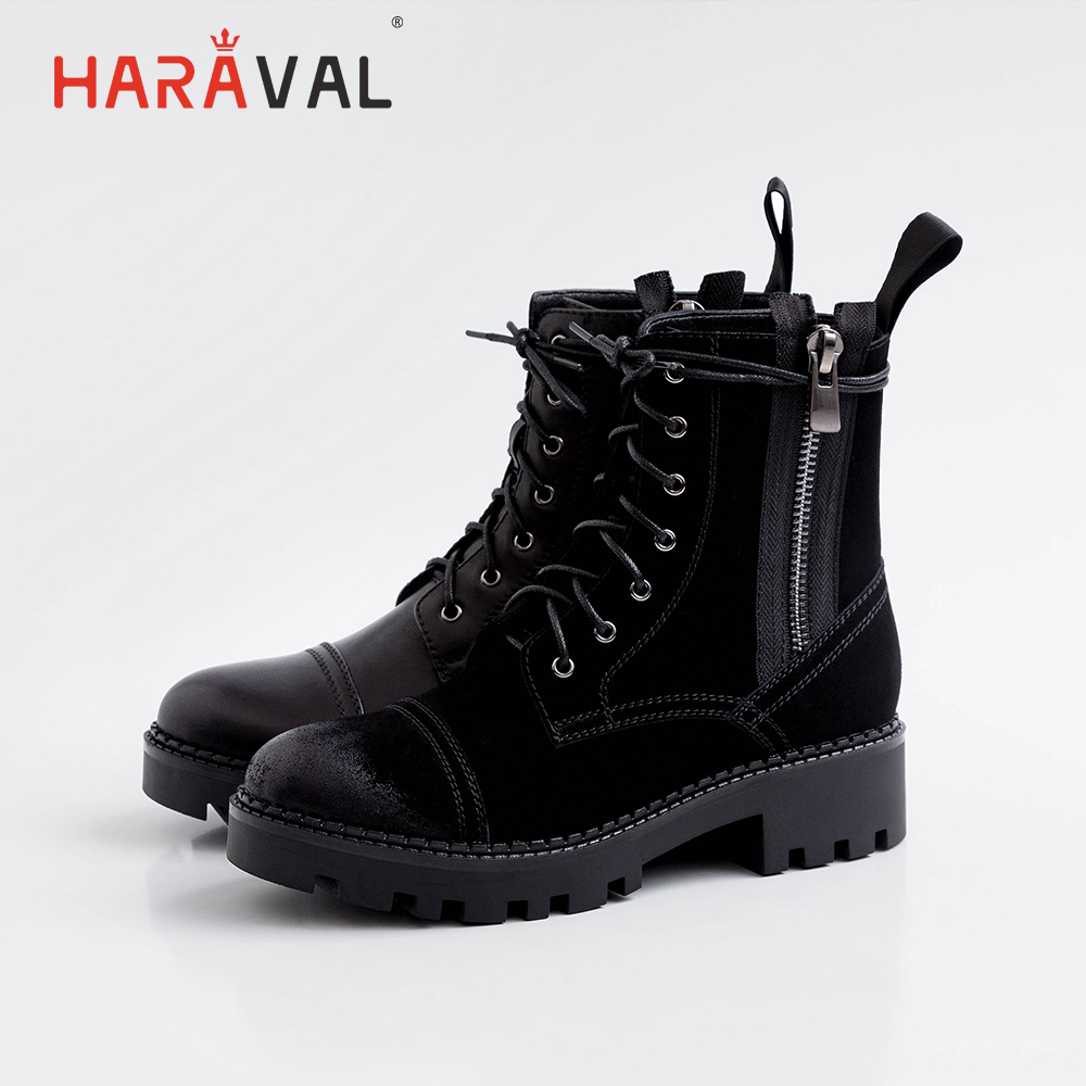 HARAVAL 2019 autumn winter women boots classic comfortable women shoes leather round head lace ankle boots Martin boots B186 in Ankle Boots from Shoes