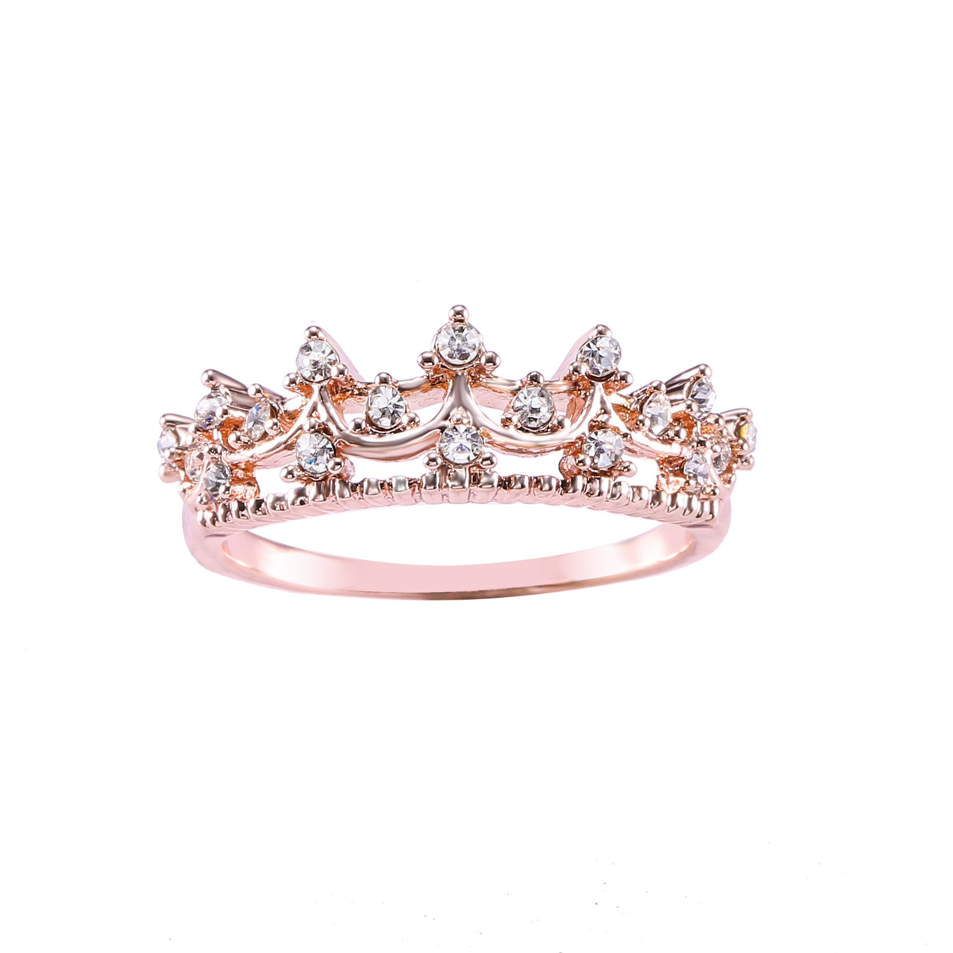Hollow Flash Rhinestone Crown Ring 2017 Fashion Jewelry Rose Gold Color Rings for Women Ladies Rings Anillos Mujer Bagues Femme