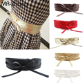 2016 Nova Moda As Mulheres Se Vestem cinto Soft PU de Couro Largas Auto Tie Envoltório Em Torno Da Cintura Acessórios Freeshipping